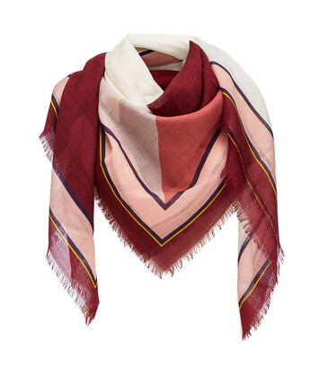 LOEWE 140X140 Scarf Puzzle Border 覆盆莓色 front