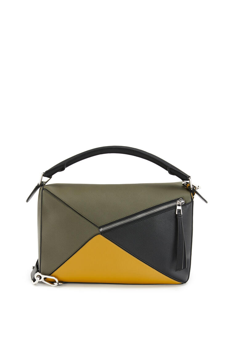 LOEWE Large Puzzle bag in soft grained calfskin Khaki Green/Ochre pdp_rd