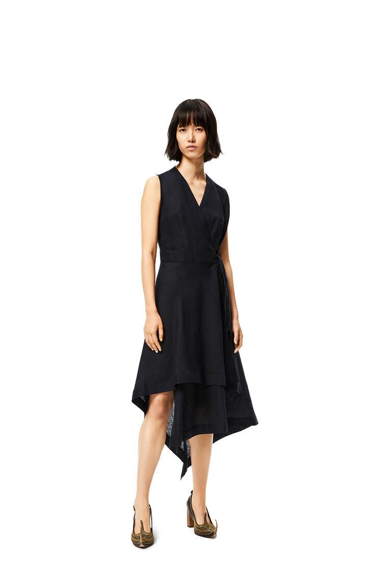 LOEWE V-neck wrap dress in linen Black pdp_rd