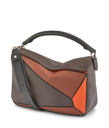 LOEWE Puzzle Large Bag Chocolate Brown/Orange front