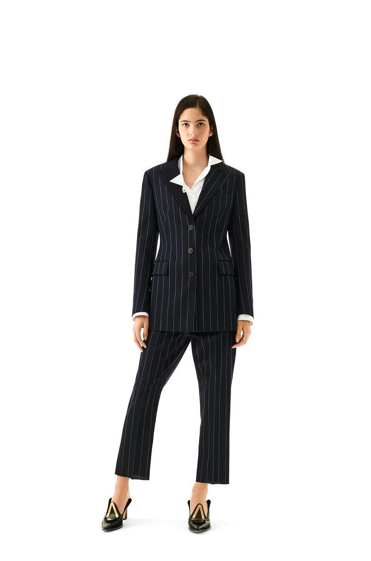 LOEWE Tuxedo jacket in striped cashmere Ecru/Navy Blue pdp_rd