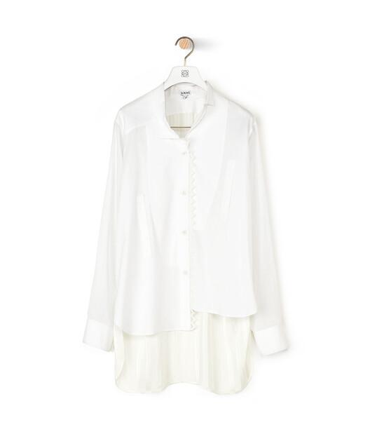 LOEWE Lace Trim Asymmetric Shirt White front