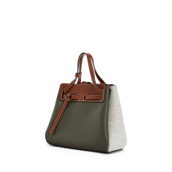 LOEWE Lazo Mini Bag Khaki Green/Natural front