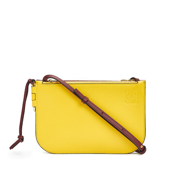 LOEWE Gate Double Zip Pouch Wine/Yellow front