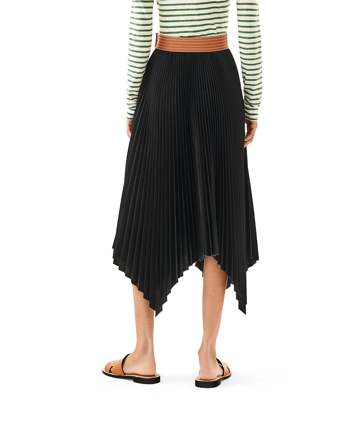 LOEWE Pleated Skirt Black/Tan front