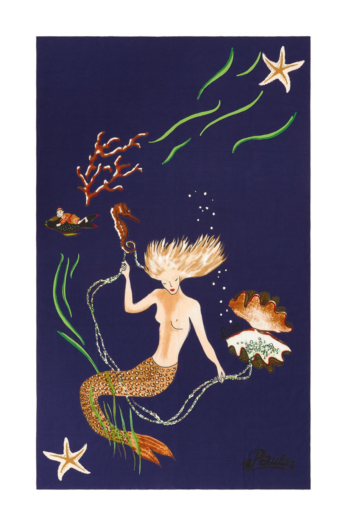 LOEWE 110Cm X 170Cm Pareo In Mermaid Cotton Blue Klein front