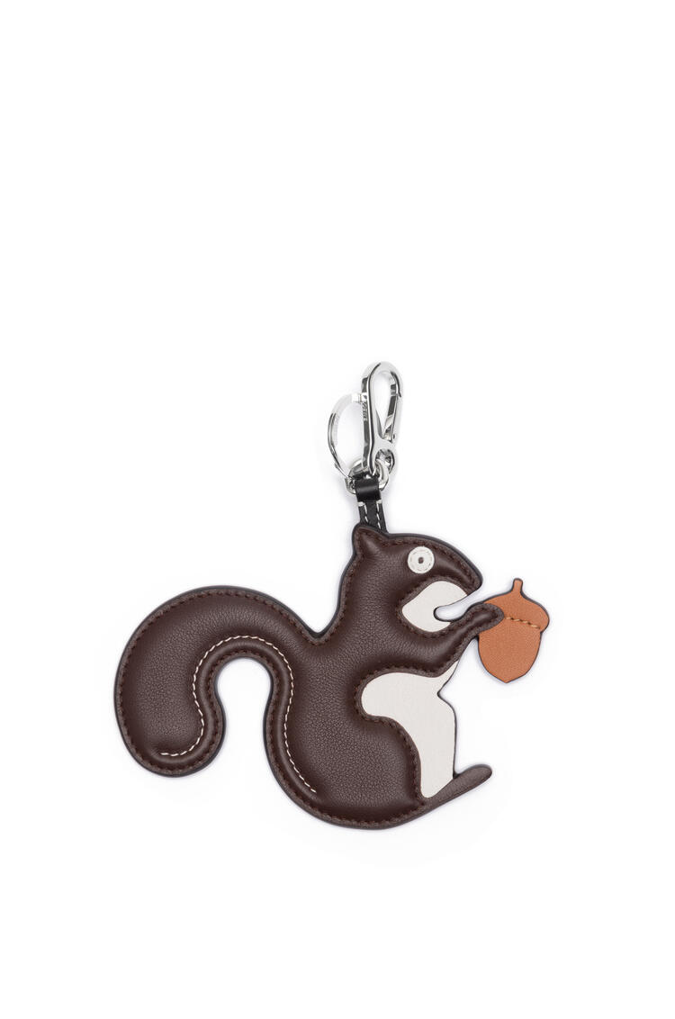 LOEWE Squirrel charm in calfskin Dark Brown/Palladium pdp_rd