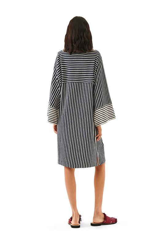 LOEWE Stripe Jersey Dress Navy Blue/Ecru front