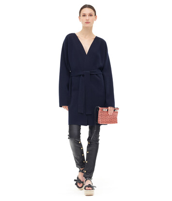 LOEWE Belted Knit Coat Marino front