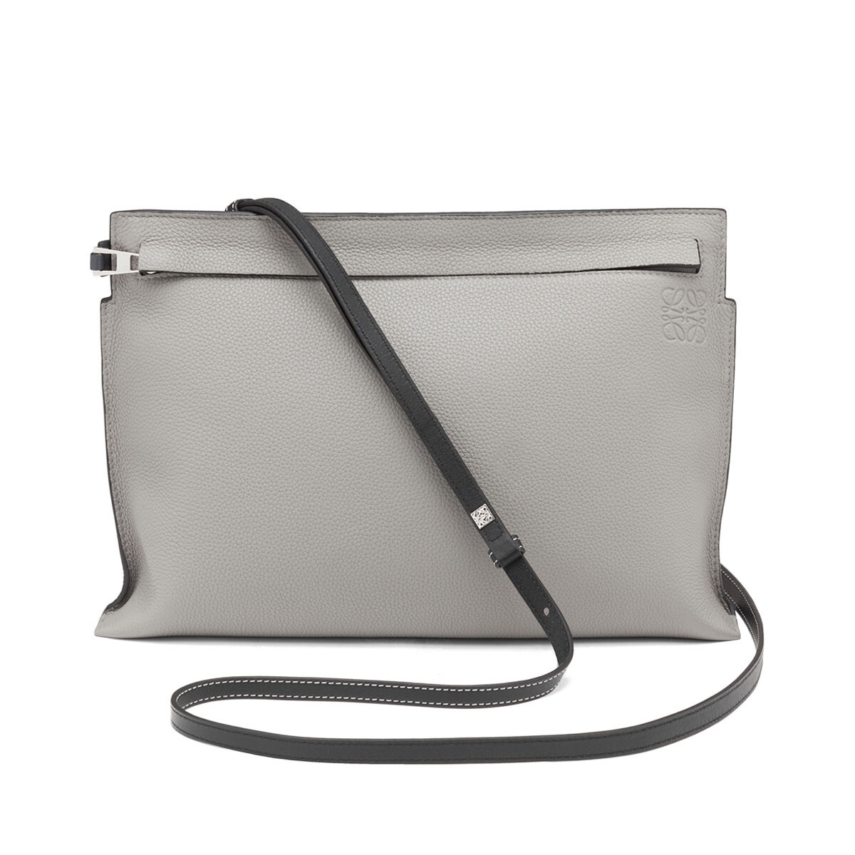 LOEWE T Pouch Bag Smoke Grey/Anthracite front