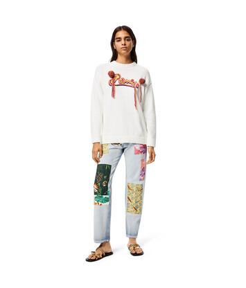 LOEWE Embroidered Sweatshirt In Cotton Ecru front