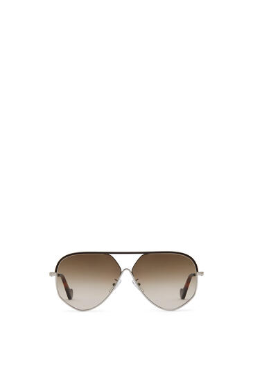 LOEWE PILOT LEATHER SUNGLASSES Rhodium/Rhodium/Khaki Green pdp_rd