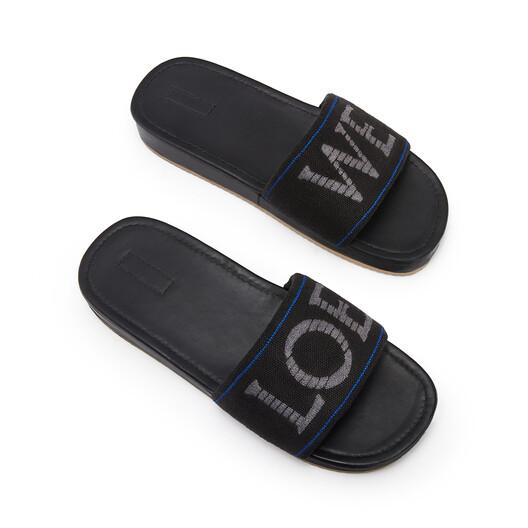 LOEWE Pool Slider In Raffia Dark Grey/Blue front