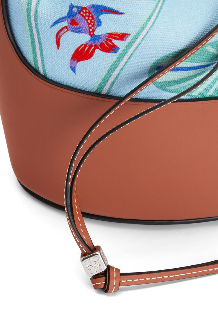 LOEWE Small Balloon bag in printed canvas and calfskin Aqua/Tan pdp_rd