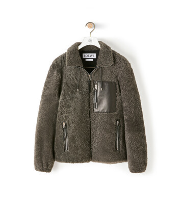 LOEWE Shearling Jacket Grey/Black front