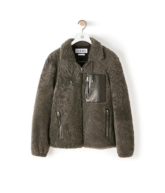 LOEWE Shearling Jacket Grey/Black front