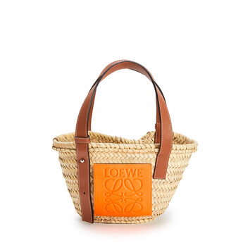 LOEWE Small Basket Bag In Palm Leaf And Calfskin Natural/Neon Orange front