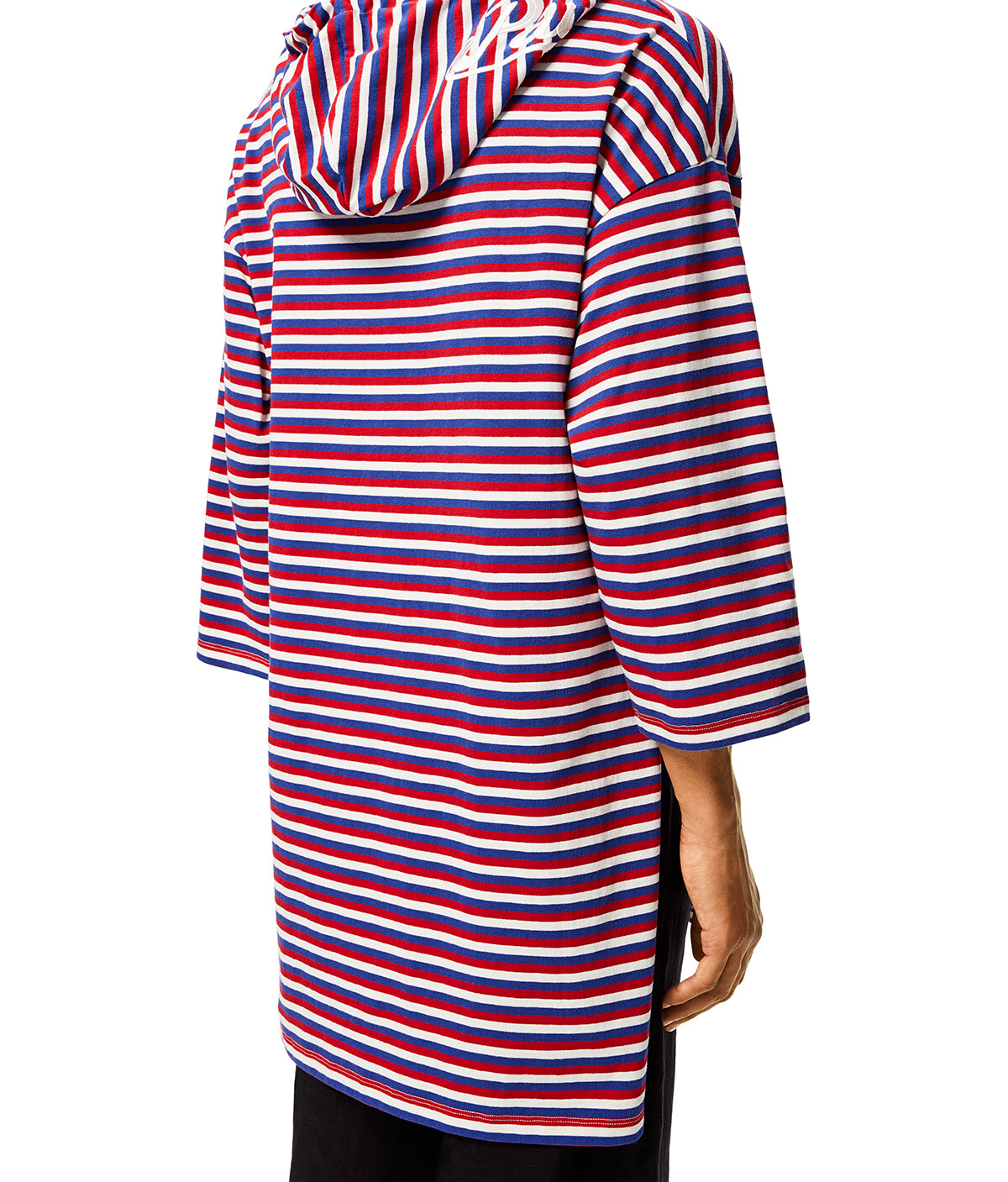 LOEWE Hooded Tunic In Striped Polyamide Red/White/Blue front