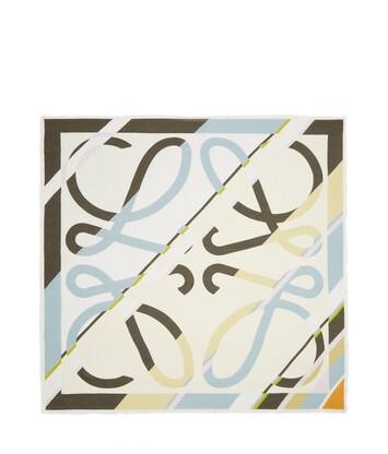 LOEWE 140X140 Scarf Stripe Anagram Dark Green front