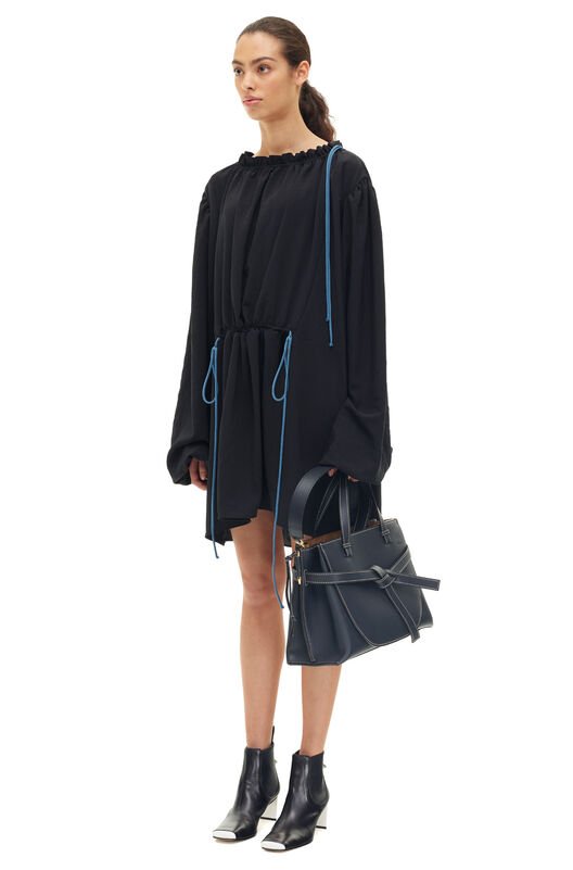 LOEWE Gathered Plastron Uni Dress Negro/Azul all