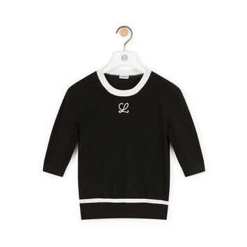 LOEWE Embroidered Cropped Sweater Black front