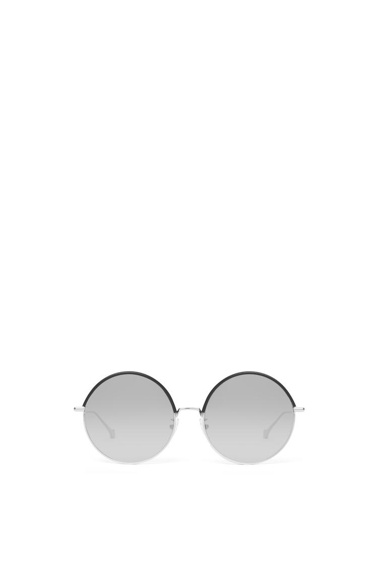 LOEWE Round Sunglasses in metal and calfskin Black/Gradient Smoke pdp_rd