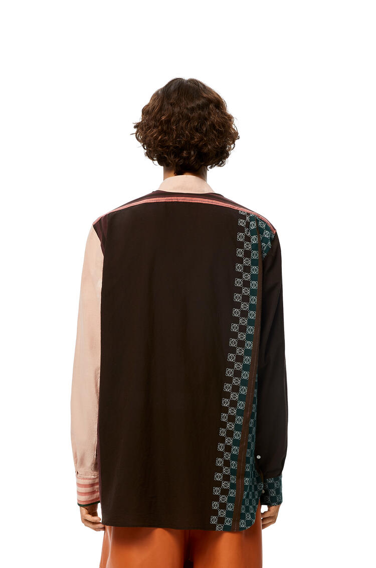 LOEWE Anagram embroidered asymmetric shirt in striped cotton Brown/Pink pdp_rd