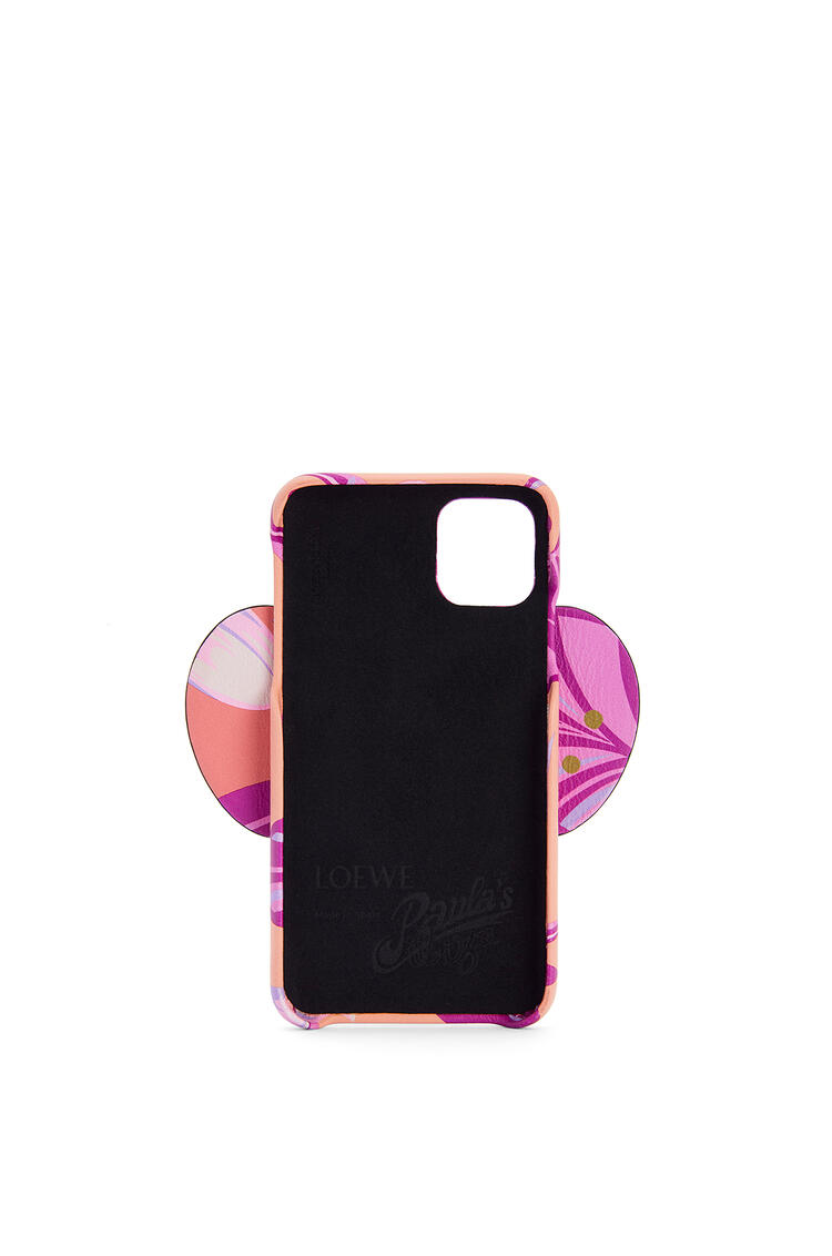 LOEWE Elephant cover for iPhone 11 in printed classic calfskin Salmon/Pink pdp_rd