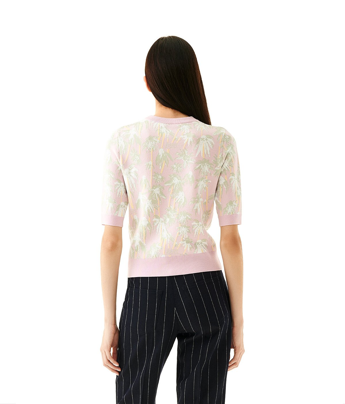 LOEWE Daisy Jacquard Cropped Sweater Pink/Light Green front