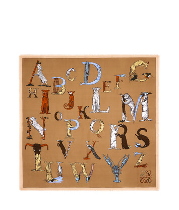 LOEWE 140X140 Scarf Alphabet 米色 front