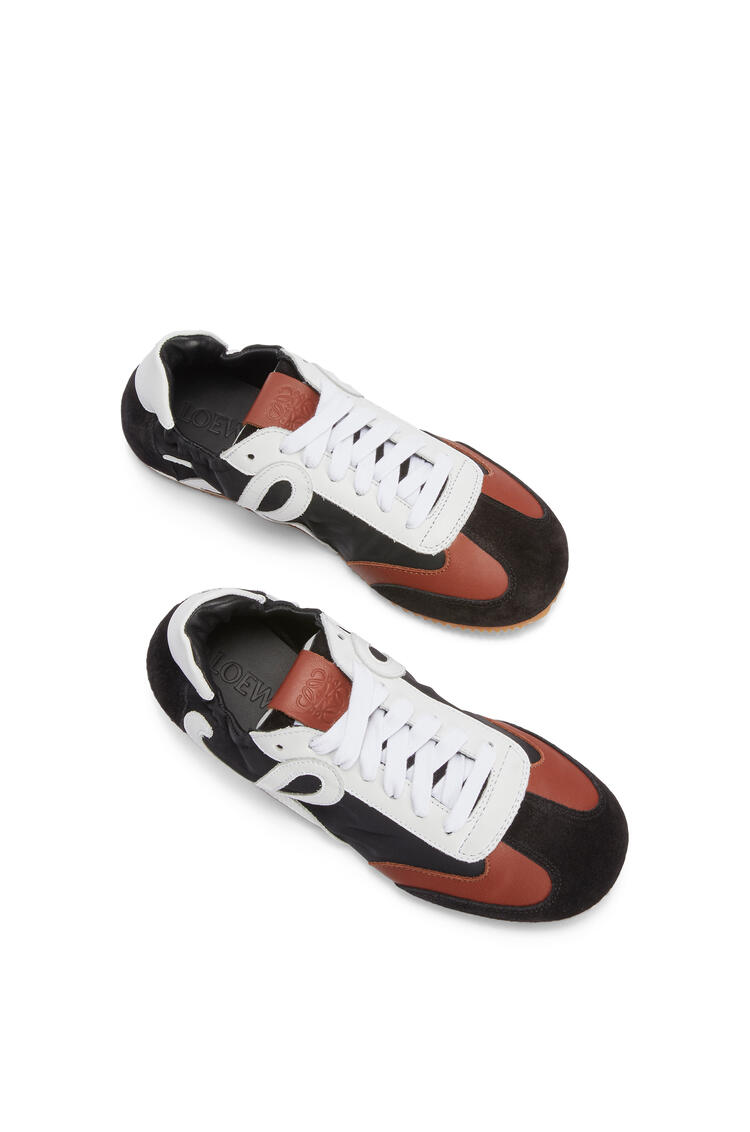 LOEWE Ballet runner in nylon and calfskin Black/White/Brown pdp_rd