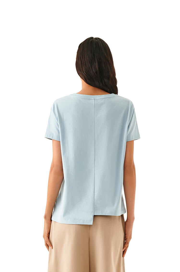 LOEWE Anagram Embroidered Asymmetric T-shirt In Cotton Storm pdp_rd