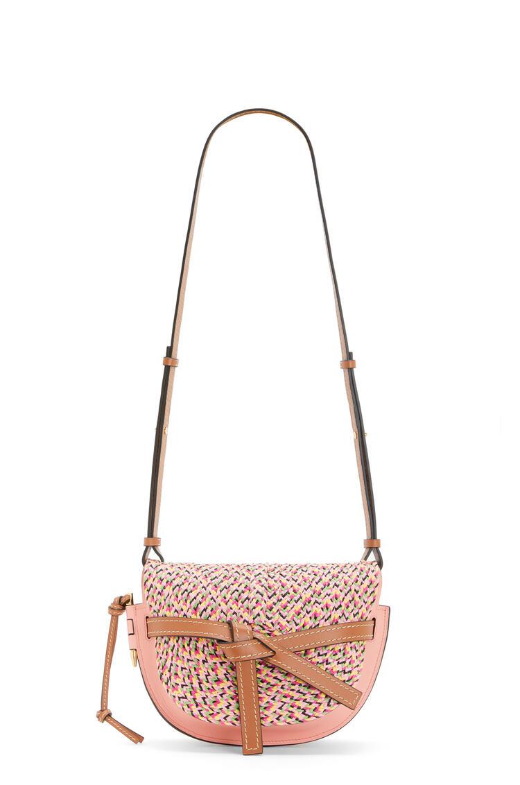 LOEWE Small Gate bag in raffia and calfskin Blossom pdp_rd