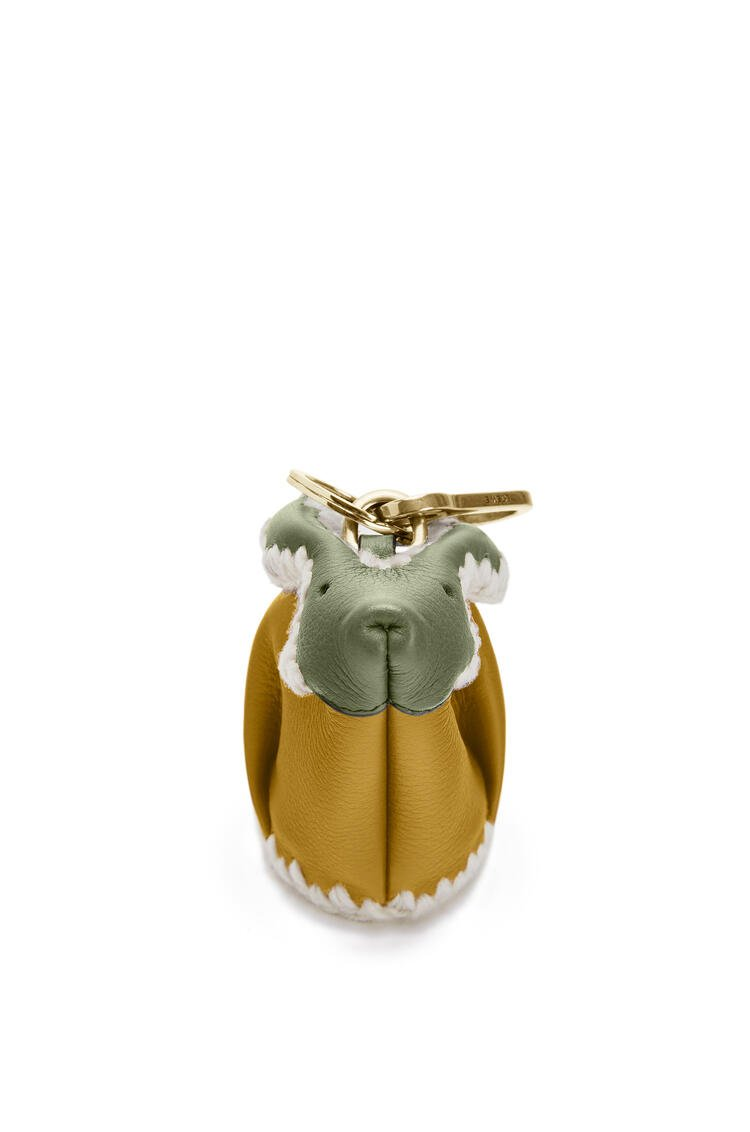 LOEWE Bunny Charm In Knit And Calfskin Ochre/Moss pdp_rd