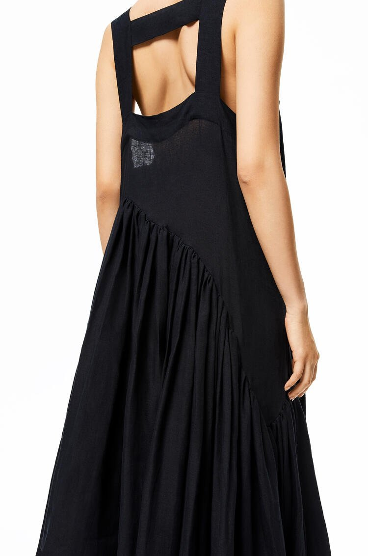 LOEWE Gathered tank dress in linen Black pdp_rd