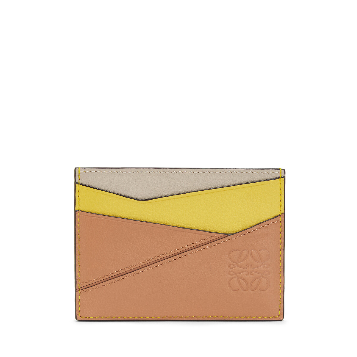 LOEWE Tarjetero Plano Puzzle Amarillo/Rosa Polvo front