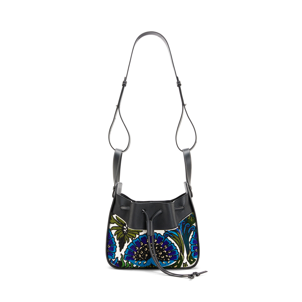LOEWE Hammock Drawstring Floral Small Bag Peacock Blue front