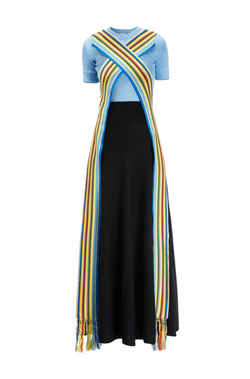 LOEWE Knit Dress Stripe Bands Light Blue/Black front