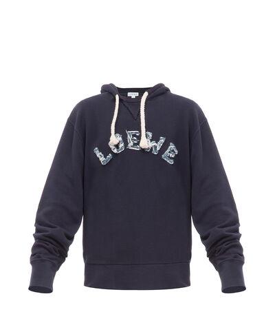 LOEWE Loewe Cut Hoodie Navy Blue front