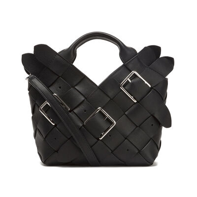 LOEWE Woven Buckle Basket Mini Bag Black front