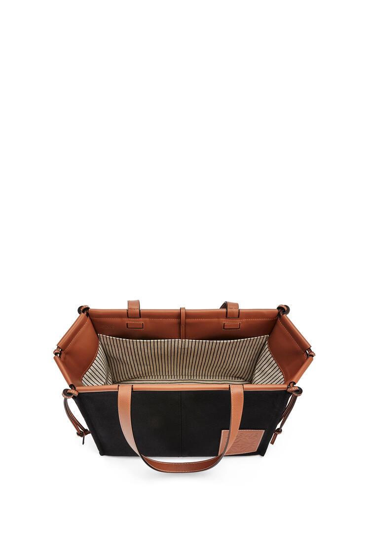 LOEWE Bolso tote Cushion en lona y piel de ternera Negro/Bronceado pdp_rd