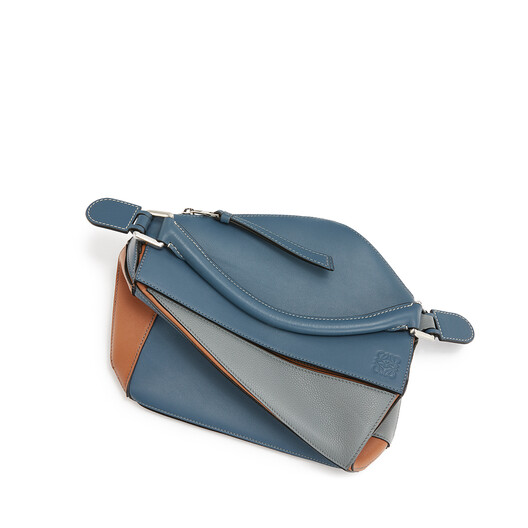 LOEWE Puzzle Small Bag Steel Blue/Tan front