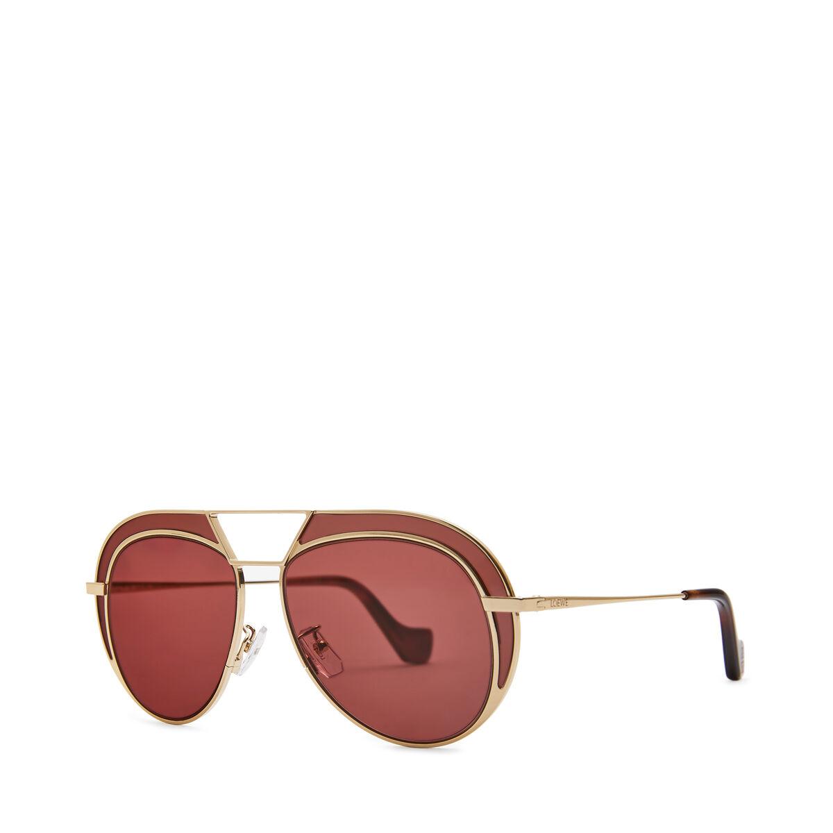 LOEWE Gafas Metal Redondas Oro/Burdeos front
