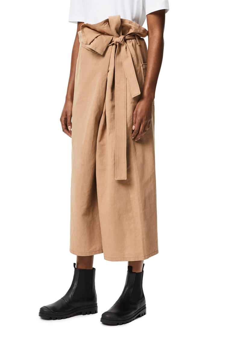 LOEWE Cropped wrap trousers in cotton and linen Beige pdp_rd