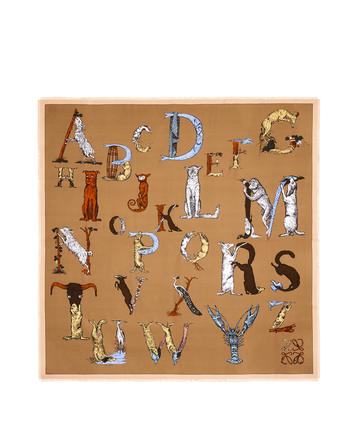 LOEWE 140X140 Scarf Alphabet Beige front