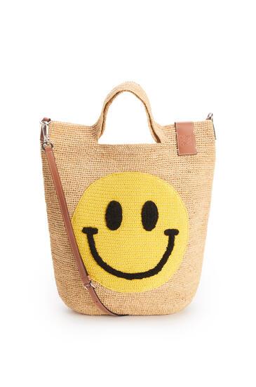 LOEWE Smiley Slit bag in raffia and calfskin Natural/Yellow pdp_rd