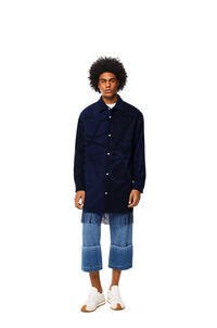 LOEWE Anagram blanket shirt in wool and cashmere Dark Navy Blue pdp_rd