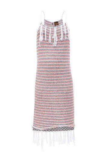 LOEWE Paula Stripe Dress Fringes Blanco/Rojo/Marino front