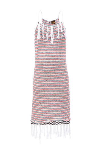 LOEWE Paula Strappy Dress Fringes White/Red/Navy front