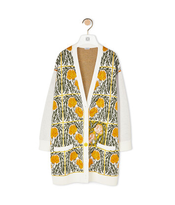 LOEWE Oversize Cardigan Flowers White/Yellow front